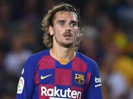 Photo of Antoine Griezmann playing for FC Barcelona in 2019
